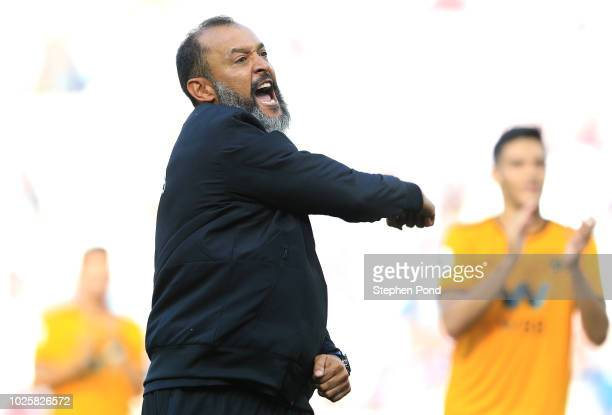 Nuno Espirito Santo Manager of Wolverhampton Wanderers celebrates following his sides victory in the Premier League match between West Ham United and...