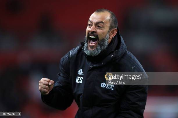 Nuno Espirito Santo Manager of Wolverhampton Wanderers celebrates following his sides victory in the Premier League match between Tottenham Hotspur...