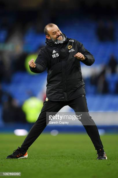 Nuno Espirito Santo Manager of Wolverhampton Wanderers celebrates victory after the Premier League match between Everton FC and Wolverhampton...