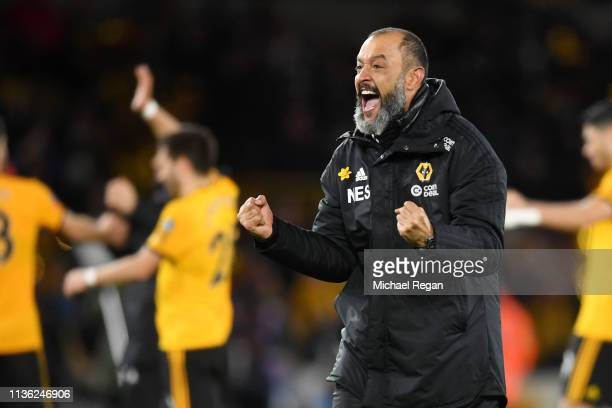 Nuno Espirito Santo Manager of Wolverhampton Wanderers celebrates victory following the FA Cup Quarter Final match between Wolverhampton Wanderers...