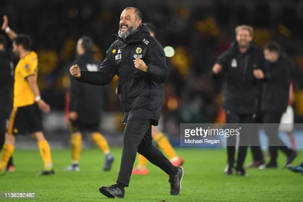 Nuno Espirito Santo Manager of Wolverhampton Wanderers celebrates victory following the FA Cup Quarter Final match between Wolverhampton Wanderers...