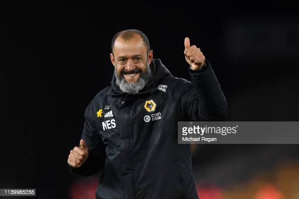 Nuno Espirito Santo Manager of Wolverhampton Wanderers celebrates following his sides victory in the Premier League match between Wolverhampton...