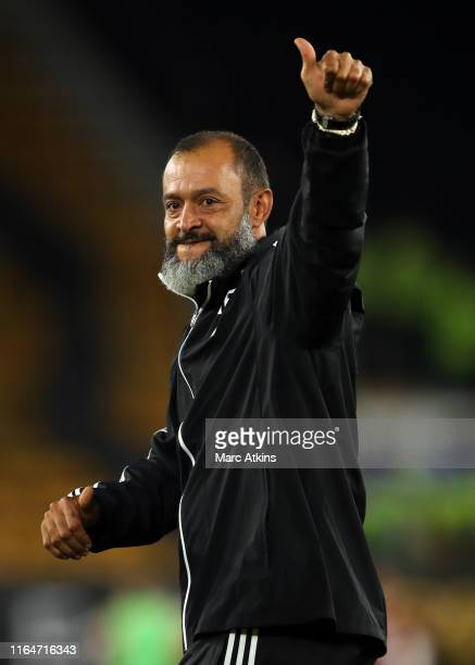 Nuno Espirito Santo manager of Wolverhampton Wanderers celebrates during the UEFA Europa League PlayOff Second Leg between Wolverhampton Wanderers...