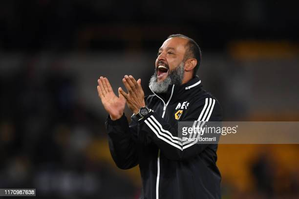 Nuno Espirito Santo Manager of Wolverhampton Wanderers celebrates following his sides victory in during the UEFA Europa League PlayOff Second Leg...