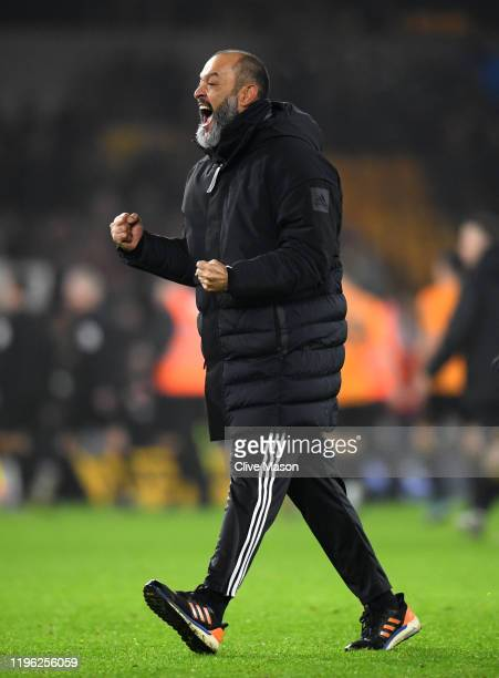 Nuno Espirito Santo Manager of Wolverhampton Wanderers celebrates victory during the Premier League match between Wolverhampton Wanderers and...