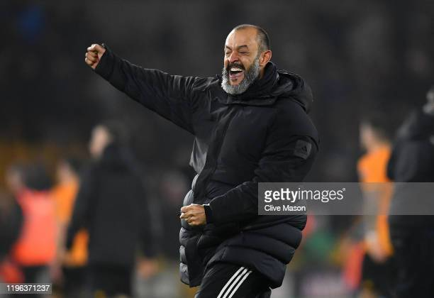 Nuno Espirito Santo Manager of Wolverhampton Wanderers celebrates victory after the Premier League match between Wolverhampton Wanderers and...