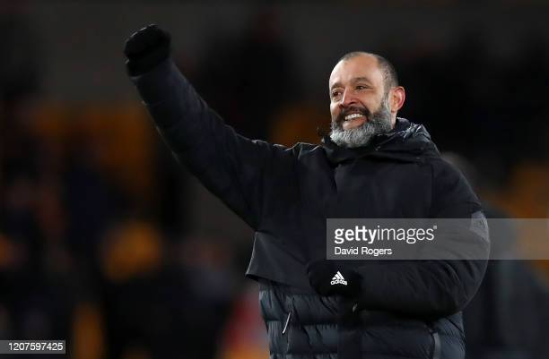 Nuno Espirito Santo Manager of Wolverhampton Wanderers celebrates following his sides victory after the UEFA Europa League round of 32 first leg...
