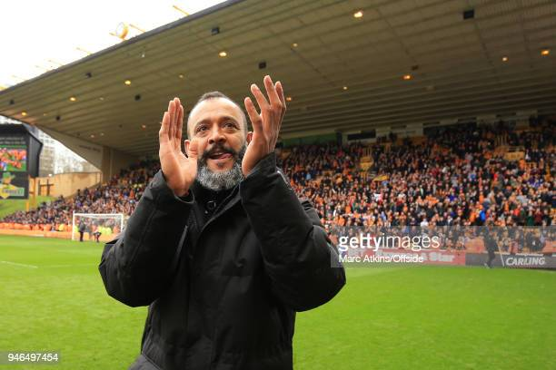 Nuno Espirito Santo manager of Wolverhampton Wanderers celebrates during the Sky Bet Championship match between Wolverhampton Wanderers and...
