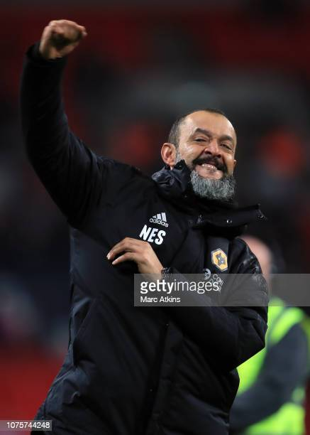 Nuno Espirito Santo manager of Wolverhampton Wanderers celebrates the win during the Premier League match between Tottenham Hotspur and Wolverhampton...