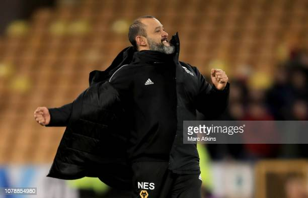 Nuno Espirito Santo manager of Wolverhampton Wanderers celebrates the win during the Emirates FA Cup Third Round match between Wolverhampton...