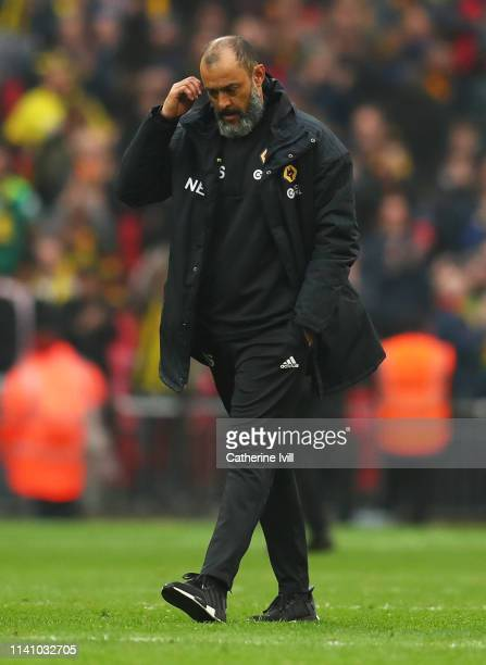 Nuno Espirito Santo Manager of Wolverhampton Wanderers looks dejected in defeat after the FA Cup Semi Final match between Watford and Wolverhampton...