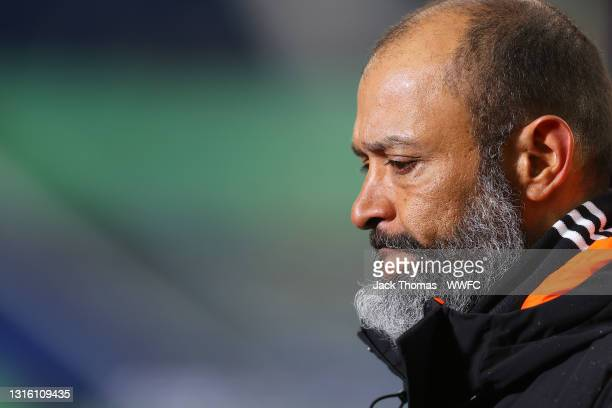 Nuno Espirito Santo, Manager of Wolverhampton Wanderers looks dejected after the Premier League match between West Bromwich Albion and Wolverhampton...