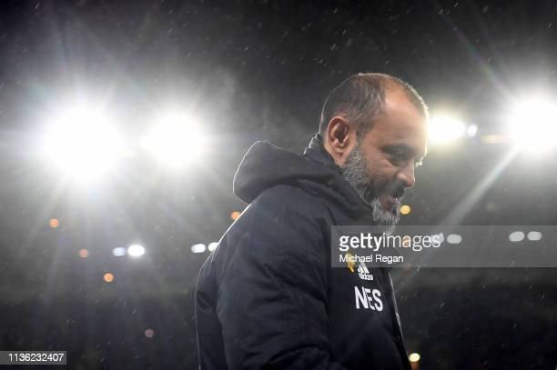 Nuno Espirito Santo Manager of Wolverhampton Wanderers looks on prior to the FA Cup Quarter Final match between Wolverhampton Wanderers and...