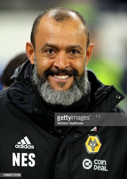 Nuno Espirito Santo Manager of Wolverhampton Wanderers looks on during the Premier League match between Cardiff City and Wolverhampton Wanderers at...