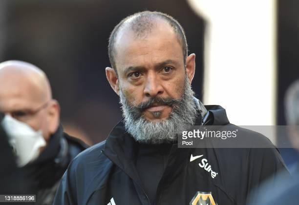 Nuno Espirito Santo, Manager of Wolverhampton Wanderers looks on during the Premier League match between Everton and Wolverhampton Wanderers at...