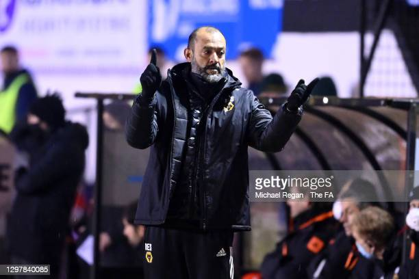 Nuno Espirito Santo, Manager of Wolverhampton Wanderers reacts during The Emirates FA Cup Fourth Round match between Chorley and Wolverhampton...