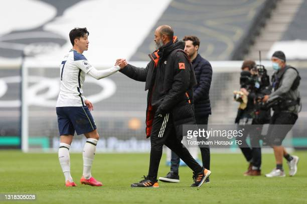 Nuno Espirito Santo, Manager of Wolverhampton Wanderers shakes hands with Son Heung-Min of Tottenham Hotspur following the Premier League match...