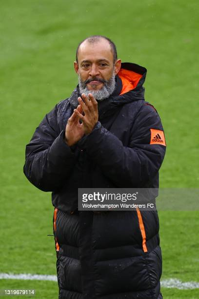 Nuno Espirito Santo, Manager of Wolverhampton Wanderers shows his appreciation to the fans after his last match as Manager during the Premier League...