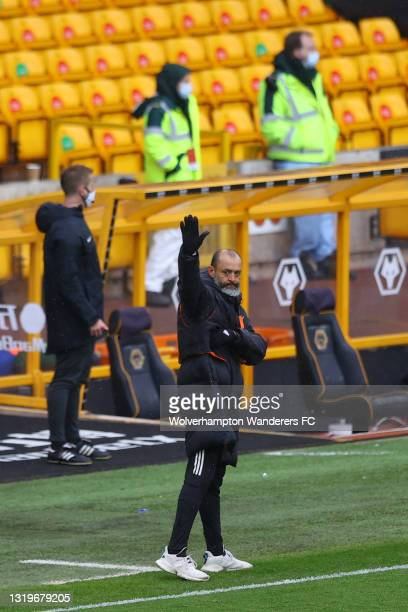 Nuno Espirito Santo, Manager of Wolverhampton Wanderers waves to the fans during the Premier League match between Wolverhampton Wanderers and...