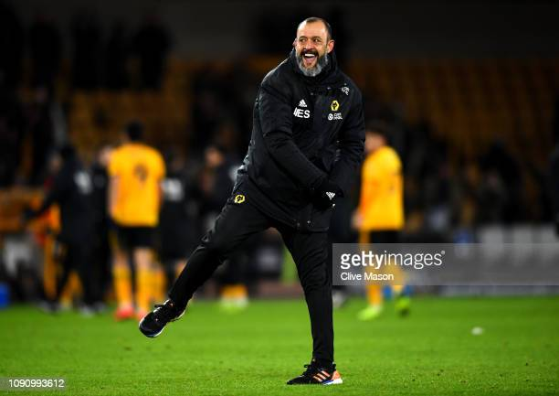 Nuno Espirito Santo Manager of Wolverhampton Wnderers celebrates victory after the Premier League match between Wolverhampton Wanderers and West Ham...