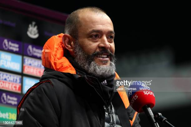Nuno Espirito Santo, Manager of Wolves is interviewed by Sky Sports after the Premier League match between Newcastle United and Wolverhampton...