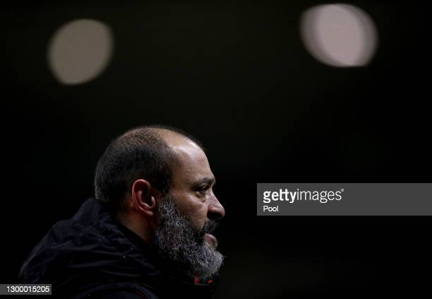 Nuno Espirito Santo, Manager of Wolves looks on after the Premier League match between Wolverhampton Wanderers and Arsenal at Molineux on February...