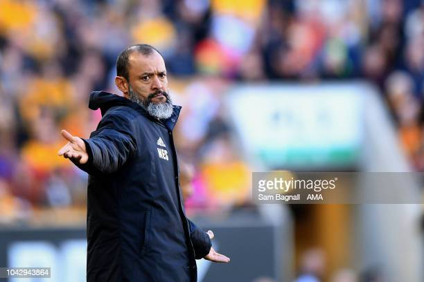 Nuno Espirito Santo the head coach / manager of Wolverhampton Wanderers during the Premier League match between Wolverhampton Wanderers and...