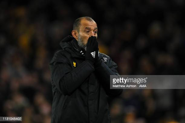 Nuno Espirito Santo the head coach / manager of Wolverhampton Wanderers reacts during the FA Cup Quarter Final match between Wolverhampton Wanderers...