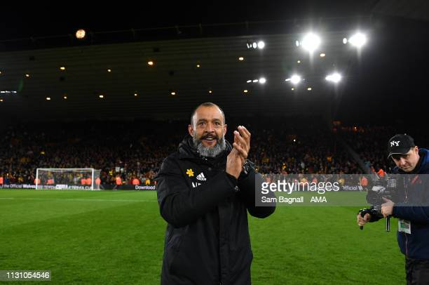 Nuno Espirito Santo the head coach / manager of Wolverhampton Wanderers celebrates at full time during the FA Cup Quarter Final match between...