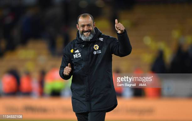 Nuno Espirito Santo the head coach / manager of Wolverhampton Wanderers celebrates at full time during the Premier League match between Wolverhampton...