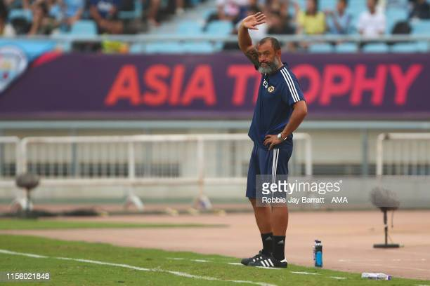Nuno Espirito Santo the head coach / manager of Wolverhampton Wanderers waves to the fans during the Premier League Asia Trophy 2019 fixture between...