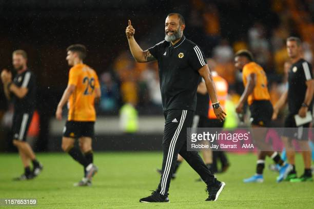 Nuno Espirito Santo the head coach / manager of Wolverhampton Wanderers celebrates at full time during the UEFA Europa League Second Qualifying round...