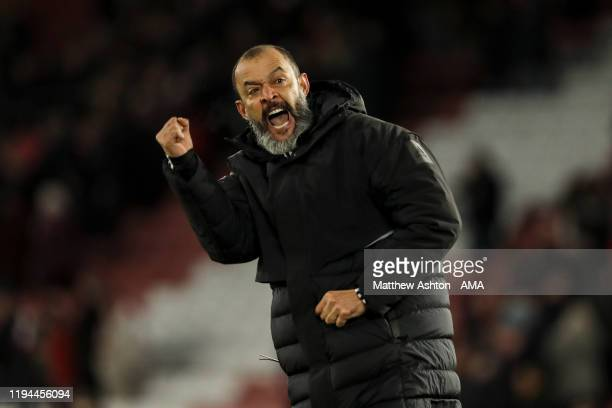 Nuno Espirito Santo the head coach / manager of Wolverhampton Wanderers celebrates at full time during the Premier League match between Southampton...