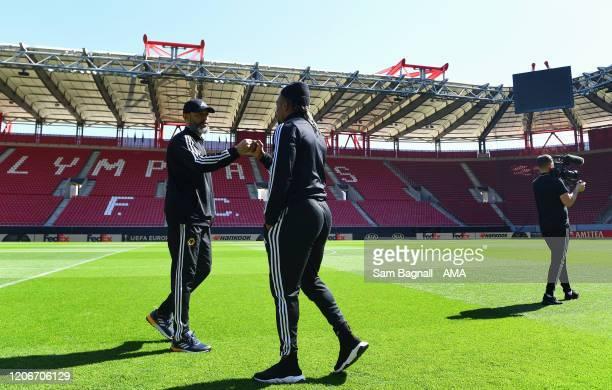 Nuno Espirito Santo the head coach / manager of Wolverhampton Wanderers and Adama Traore in the Georgios Karaiskakis Stadium the home stadium of...