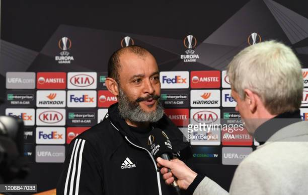 Nuno Espirito Santo the head coach / manager of Wolverhampton Wanderers gets interviewed after the UEFA Europa League round of 16 first leg match...