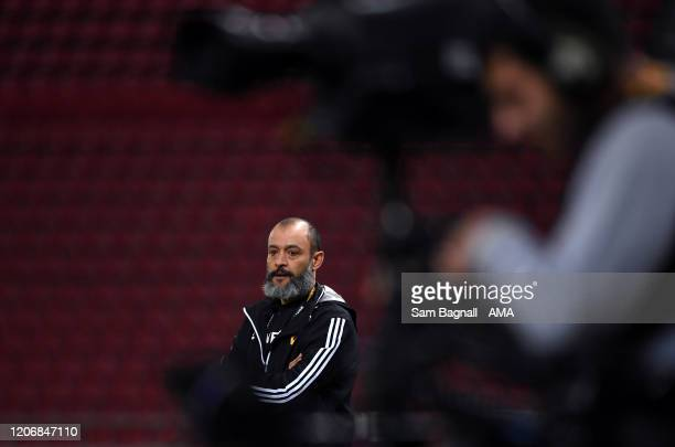 Nuno Espirito Santo the head coach / manager of Wolverhampton Wanderers during the UEFA Europa League round of 16 first leg match between Olympiacos...