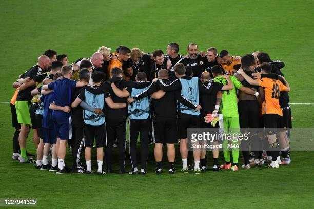 Nuno Espirito Santo the head coach / manager of Wolverhampton Wanderers gives his players and staff a team talk at full time during the UEFA Europa...