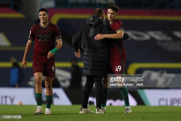 Nuno Espirito Santo the head coach / manager of Wolverhampton Wanderers congratulates Max Kilman after the 01 victory in the Premier League match...