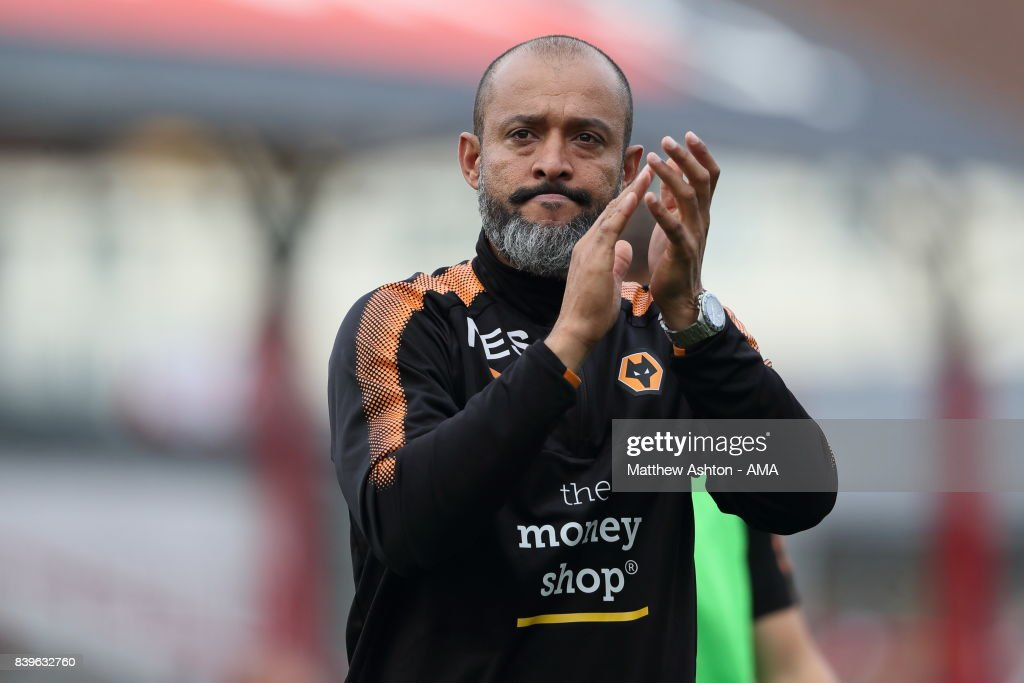 Nuno Espirito Santo the head coach / manager of Wolverhampton Wanderers during the Sky Bet Championship match between Brentford and Wolverhampton Wanderers at Griffin Park on August 26, 2017 in Brentford, England.