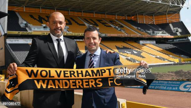 Nuno Espirito Santo the new head coach, Rui Pedro Silva assistant head coach, Laurie Dalrymple Managing Director of Wolverhampton Wanderers as...