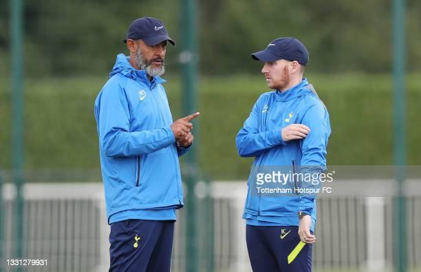 Nuno Espirito Santo, Tottenham Hotspur manager and Ian Cathro, Assistant Head Coach during the Tottenham Hotspur pre-season training session at...