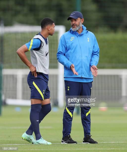 Nuno Espirito Santo, Tottenham Hotspur manager with Dane Scarlett during the Tottenham Hotspur pre-season training session at Tottenham Hotspur...