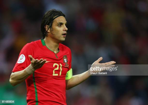 Nuno Gomes of Portugal reacts during the UEFA EURO 2008 Group A match between Portugal and Turkey at Stade de Geneve on June 7 2008 in Geneva...