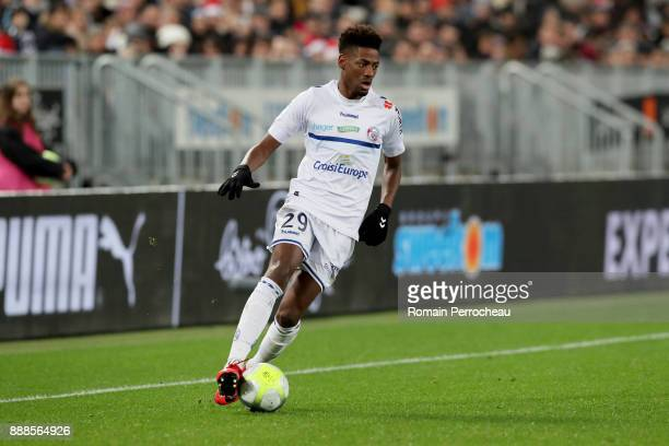 Nuno Joia Da Costa of Strasbourg in action during the Ligue 1 match between FC Girondins de Bordeaux and Strasbourg at Stade Matmut Atlantique on...