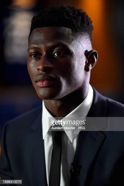 Nuno Mendes answers PSG TV at Parc des Princes on September 09, 2021 in Paris, France.