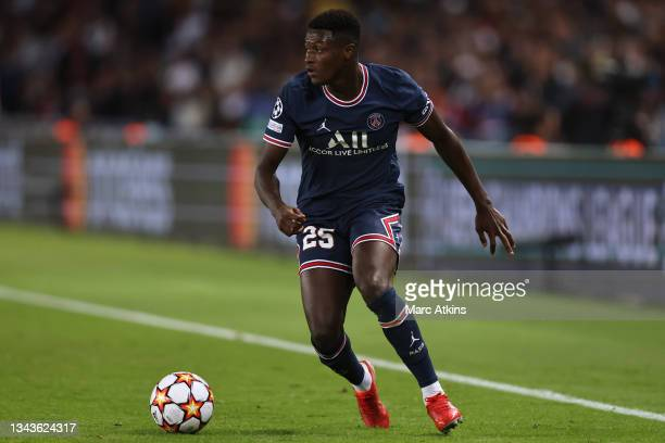 Nuno Mendes of Paris Saint-Germain runs with the ball during the UEFA Champions League group A match between Paris Saint-Germain and Manchester City...