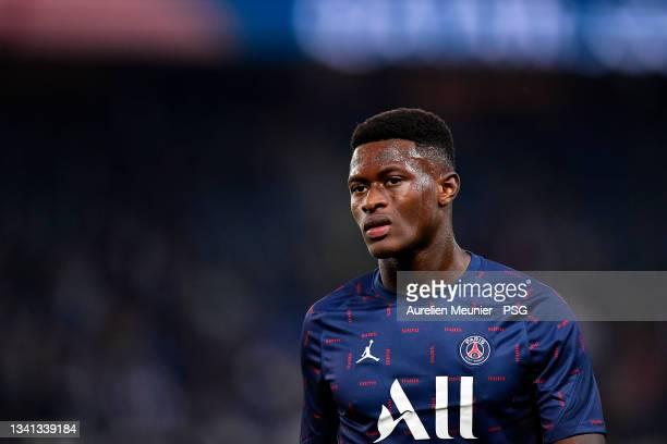 Nuno Mendes of Paris Saint-Germain warms up before the Ligue 1 Uber Eats match between Paris Saint Germain and Lyon at Parc des Princes on September...