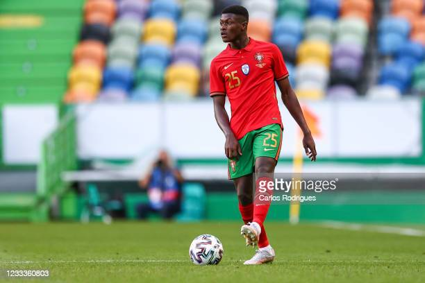 Nuno Mendes of Portugal and Sporting CP during the international friendly match between Portugal and Israel at Estadio Jose Alvalade on June 9, 2021...