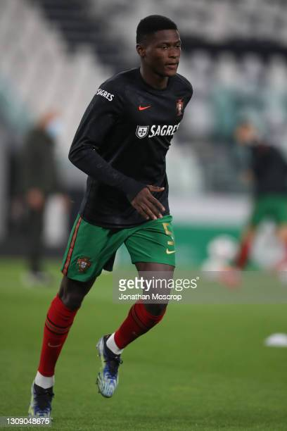Nuno Mendes of Portugal during the warm up prior to the FIFA World Cup 2022 Qatar qualifying match between Portugal and Azerbaijan at Allianz Stadium...