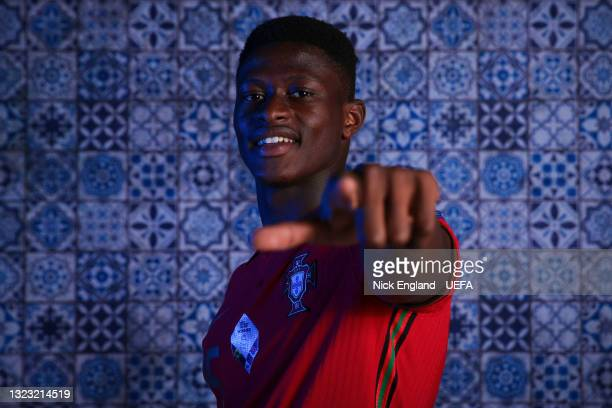 Nuno Mendes of Portugal poses for a photo during the official UEFA Euro 2020 media access day on June 11, 2021 in Budapest, Hungary.